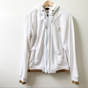 JUST CAVALLI white zip-up hoodie
